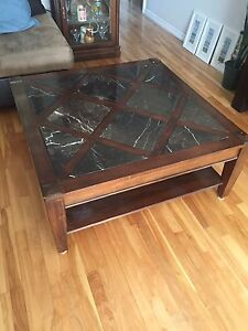 Marble and wood coffee table.