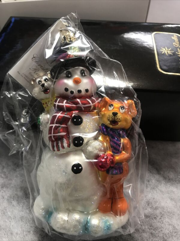 NIB Christopher Radko Holiday Rendeznous Glass Ornament Snowman