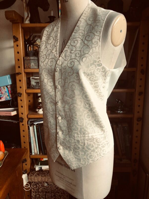 "SIZE 34"" CHEST BROCADE CHAMPAGNE IVORY CREAM WAISTCOAT SPECIAL OCCASION SWIRLS"