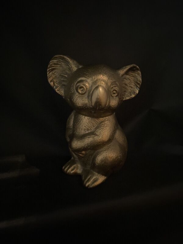 "Koala Bear Figurine 6 1/2"" tall, Hollow Cast Brass Sculpture, Miniature"