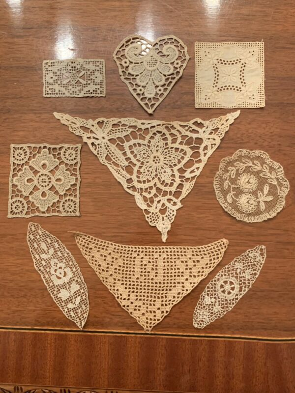 Rare Lot Of 9 Antique Embroidered Lace Appliques Ivory
