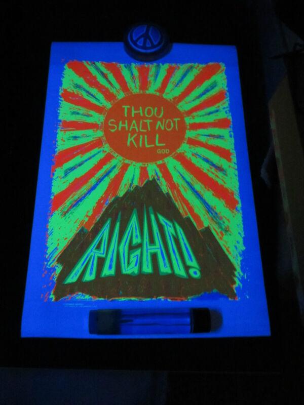 Thou Shall Not Kill God Right Black Light Poster! Vintage! Rare! 1960s! Hippie!