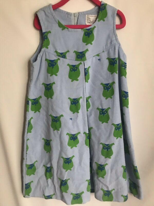 The Wee Gentress Girls Corduroy Owl Dress Sz 6x Hand Screened Print Rare Vin