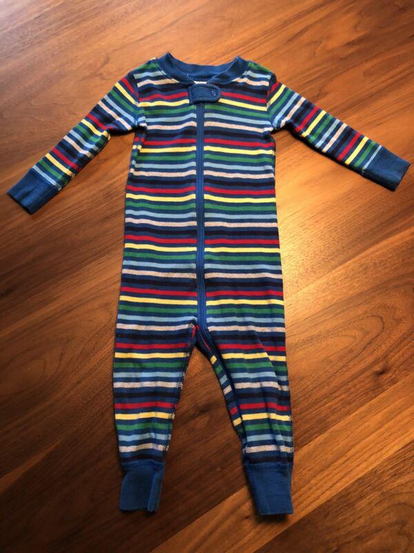 Hanna Andersson Baby Boy One-Piece Sleeper Pajamas Sz 75cm/12-18 M Striped