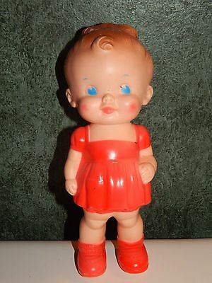 VINTAGE RUTH E. NEWTON SUN RUBBER SQUEAKER GIRL DOLL RED DRESS