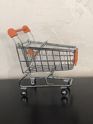 Small Miniature Mini Metal Wire Model Shopping Grocery Cart Trolley Doll Rolls