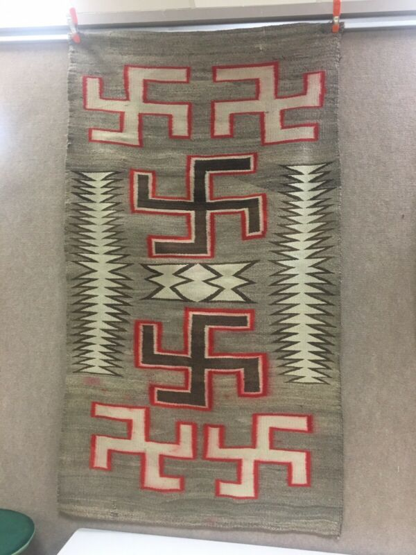 """Navajo Rug Antique Native American Whirling Logs Textile Weaving 68"""" X 37"""""""