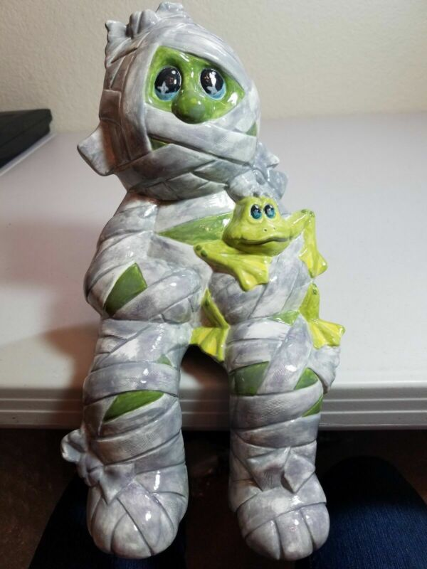 Child MUMMY CERAMIC BISQUE HALLOWEEN w/ Pet Frog