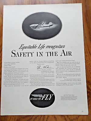 1940 Equitable Life Insurance Ad It Pays To Fly