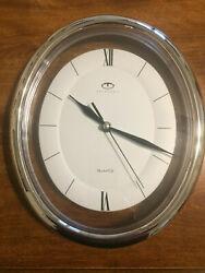 Telesonic Quartz Silver Look Frame Oval Wall Clock New