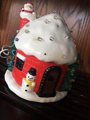 Vintage Ceramic Light Up Christmas Tree Igloo House Santa Snowman Fiber optic