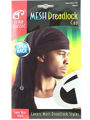 TITAN CLASSIC OPEN BACK MESH DREADLOCK STOCKING CAP - BLACK  (22149)](Dreadlock Hat)