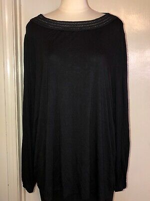 2X Ava and Viv Womens Plus Size Black Lace Trim Neck Long Sleeve Knit Top