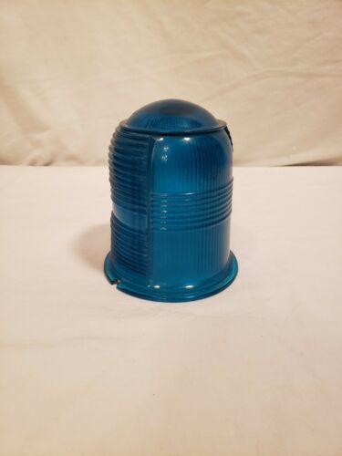 Vintage Airport Runway Light Cover, Taxi Light, Turquoise Color Glass