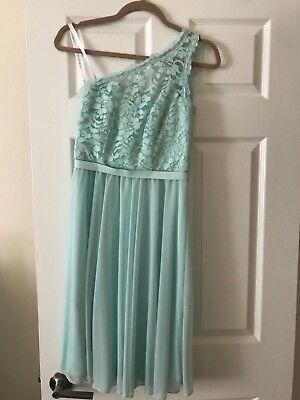 Davids Bridal Short One Shoulder Corded Lace Dress Mint size 0](Davids Bridal Mint)