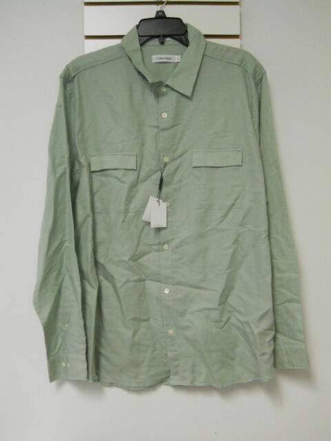 Calvin Klein Mens Rolled Sage Green Button Down Shirt Extra Large ...