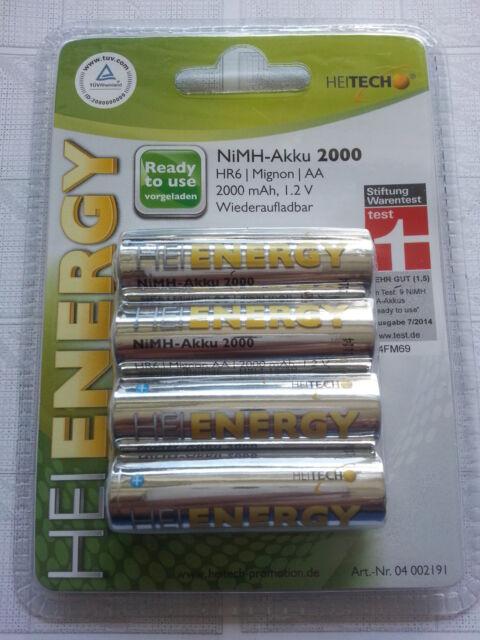 4x HEIENERGY  Batterie AKKU Wiederaufladbar 2000 mAh  1,2 V AA LR06 LR6 NI-MH
