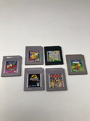 Lot Of 6 Nintendo Gameboy Color Games Simpson's Pac-Man Jurassic Park Dr. Mario