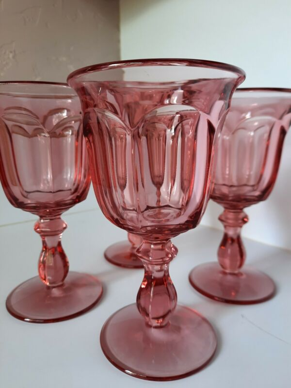 Vintage Pink water Goblets, 4 footed Dura Tuff beautiful soft pink