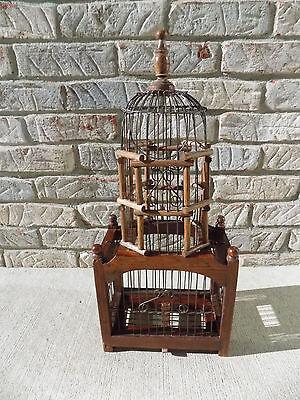 Vintage Wood & Metal Wire Bird Cage For Victorian Shabby Chic Garden Porch Decor
