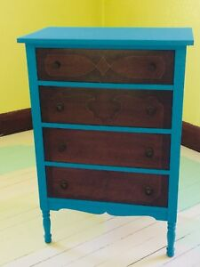 Dresser, 4 Drawer, Antique, Painted
