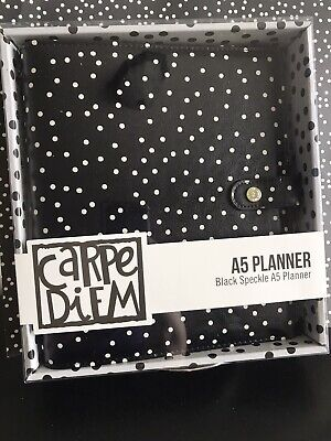 Carpe Diem Planner A5 6 Ring Binder Speckle Black With White Dots Calendar