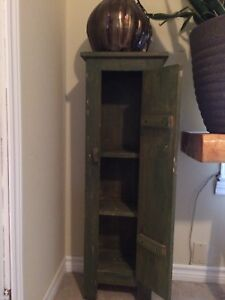 Tall and slim army green hutch