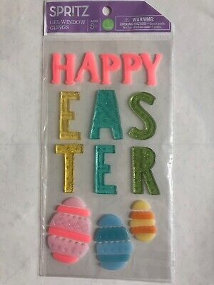 Happy Easter Window Gel Sticker Cling Decorations classroom decor with Eggs](Easter Home Decorations)