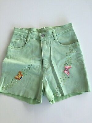 Jordache Green Cotton Embroidered Shorts Size 8UK