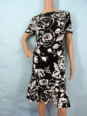 RALPH LAUREN Black & Off-White Floral Short Sleeve Fit & Flare  Dress, Size 1X