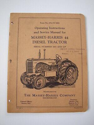 Massey-harris Mh 44 Diesel Tractor Operatorownerserviceshoprepair Manual 49