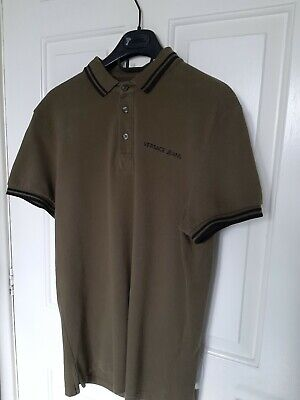 Versace Polo Shirt Khaki Green And Black Size M