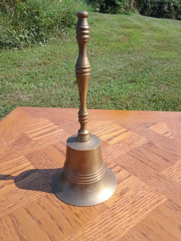 "Vintage Solid Brass School Teacher Hand Bell- 8.5"""