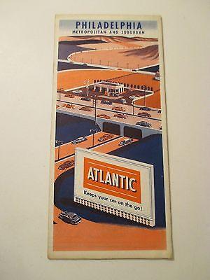 Vintage ATLANTIC PHILADELPHIA PA Oil Gas Service Station CITY Road Map~1955?
