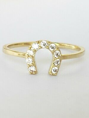 10k Yellow Gold good luck horseshoe Ring Size 5 6 7 8 9 10k Good Luck Ring