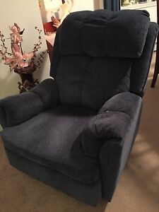 Blue rocker recliner.