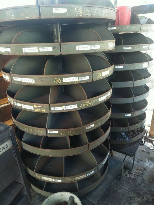 "Vintage 34"" Metal Parts Storage Bins REAL ROTABIN revolving Shelves Sturdy - USA"