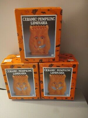 (3) Vintage Halloween Ceramic Pumpkin Luminaria Orange Pumpkin 1992 light