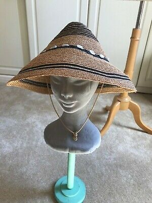 VINTAGE STRAW CONICAL  HAT WITH RAFIA TRIM. 40s-50s.A1 condition
