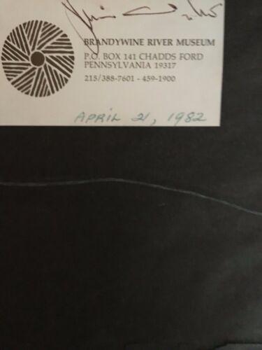 Jamie Wyeth Signed Brandywine River Museum Label  1982 on Framed Mowing print