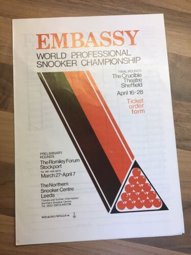 Snooker. Embassy World Snooker. 1970s Booking Form. Collectable