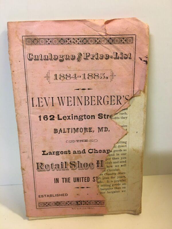 RARE 1884 1885 BALTIMORE MARYLAND WEINBERGER SHOE BOOT POCKET CATALOG PRICE LIST