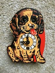 GERMAN ENGSTLER MINIATURE MOVING EYE DOG CLOCK - MINTY