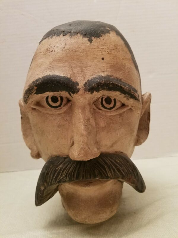 American Folk Art Carnival Head Bust Life Size Carved Wood late 1800 early 1900