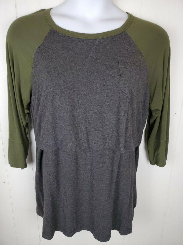 Latched Mama Top Size 1X Green Gray 3/4 Sleeve Nursing Breastfeeding Shirt