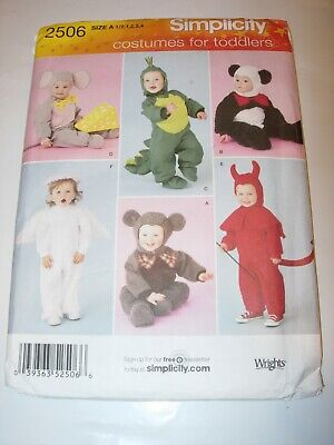 INFANT TODDLER UNCUT SIMPLICITY 2506 Sewing Pattern HALLOWEEN COSTUME SIZE 1/2-4 - Simplicity Infant Halloween Costume Patterns