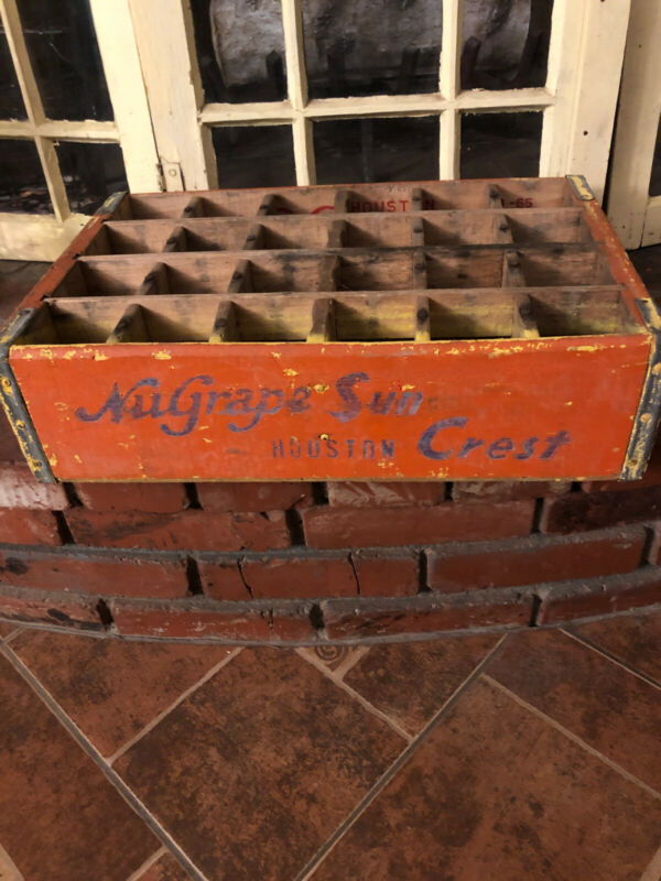 Vintage Very Rare 1965 Nu Grape / Sun Crest Houston Texas Wooden Crate