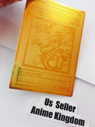 USA Seller Anime Blue-Eyes Ultimate Dragon English Version Golden Metal Card