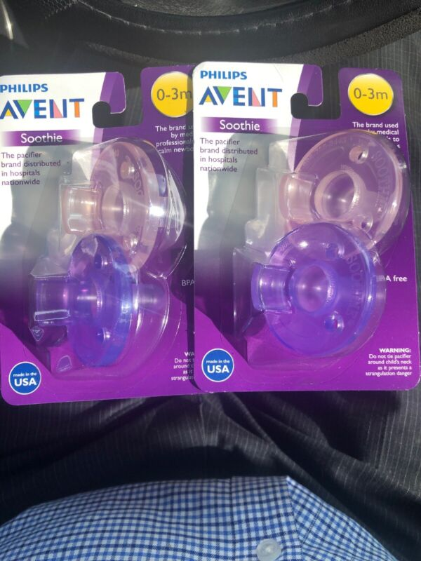 SEALED Phillips Avent Soothie Pacifier, 0-3 months, Pink/Purple, 4Ct