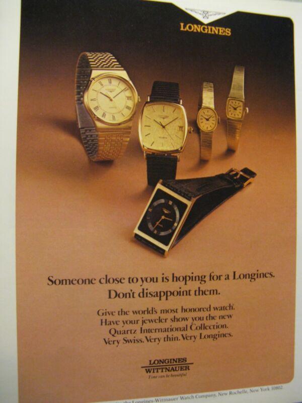 """1979 Longines Quartz Original Print Ad- 8.5 x 10.5""""-REGIONAL AD"""